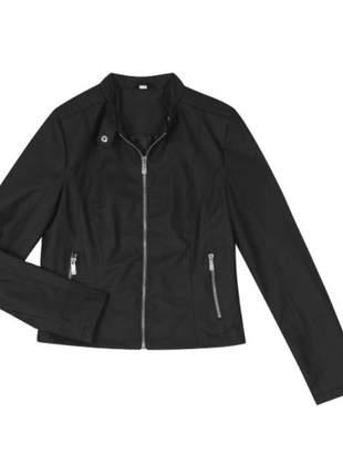 Jaqueta couro sintético preto feminino 6192025539