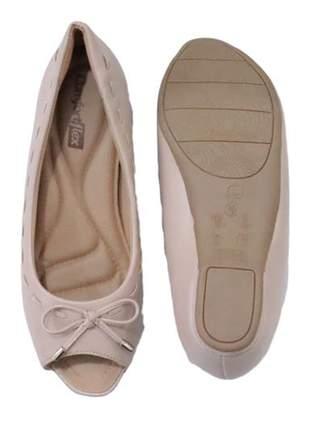 Sapatilha peep toe nude feminina comfortflex 2071302n