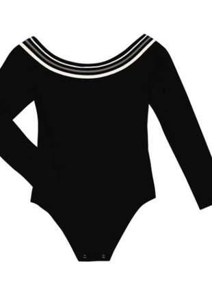 Body manga longa ombro a ombro preto feminino e136267539