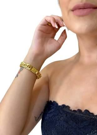 Cordão feminino modelo grumet 13mm + pulseira + pingente banhado ouro 18k