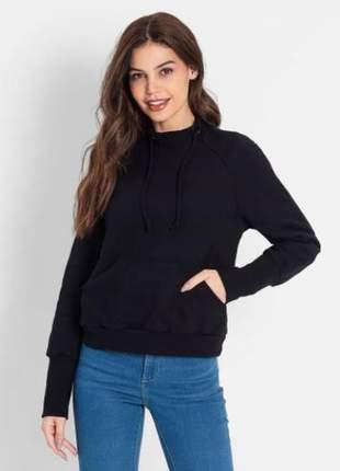 Blusão manga longa preto feminino e136187539
