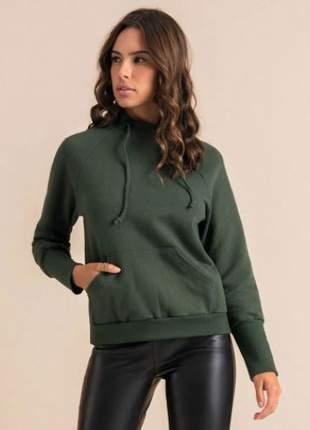 Blusão manga longa verde militar feminino  e136186024
