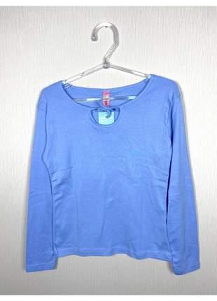 Blusa básica segunda pele manga longa gola redonda com amarração tamanhos p ou m