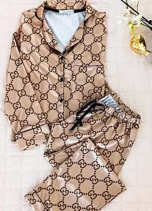 Pijama alfaiataria de cetim - luxo total-