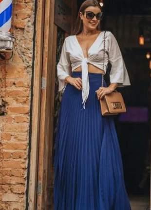 Saia feminina plissada azul saia012