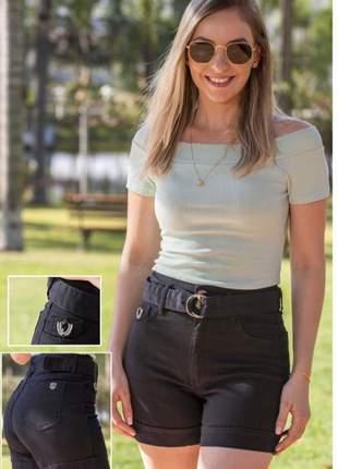 Short feminino casual jeans preto 9072
