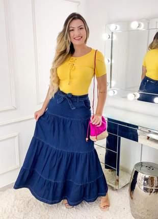 Saia jeans longa três marias rodada moda evagélica feminina