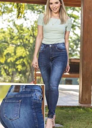 Calça jeans feminina casual detalhes na barra 6023