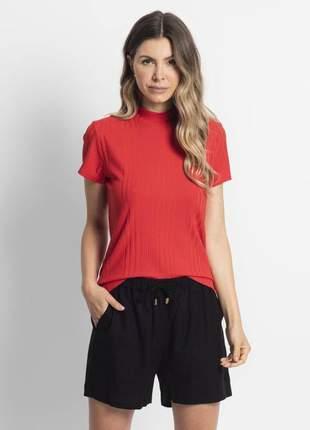 Blusa feminina gola alta canelada vermelho 61514251567