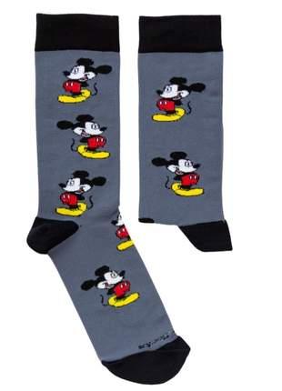 Meia Divertida Colorida Cinza Personagem Mickey Mouse - TAM UN: 34 A 42