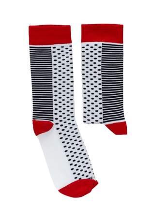 Meia Divertida Colorida Branca e Vermelha Joker - TAM UN: 34 A 42