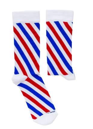 Meia Divertida Colorida Branca Com Listras Azul e Vermelha Joker - TAM UN: 34 A 42