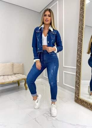 Jaqueta jeans feminina gola pelucia manga pelinho