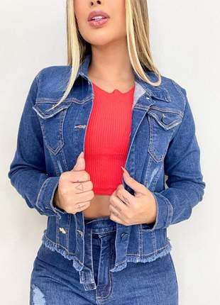 Jaqueta jeans feminina jaquinho e desfiadinha