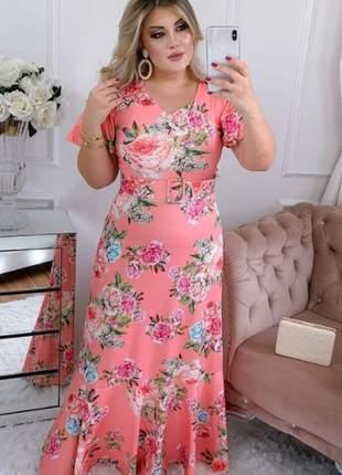 Vestido feminino longo luxo com cinto moda evangélica festa social madrinha