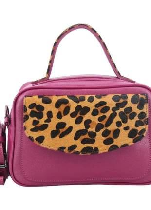 Bolsa feminina couro pink com onça blogueira lili alça transversal