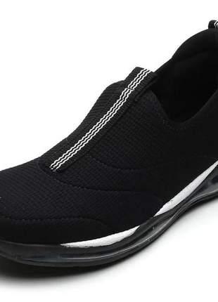 Tênis feminino ortopédico preto comfortflex 2058301p