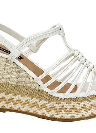 Anabela feminino tiras casual sandália branca  806180810