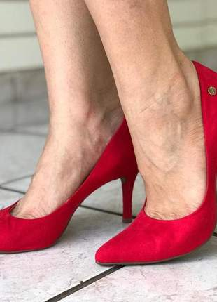 Scarpin feminino clássico salto fino vermelho 404001sbavvv