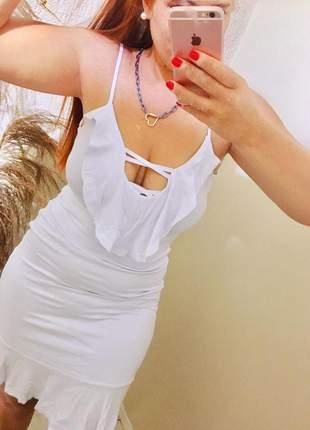 Vestido curto branco soltinho babadinho casamento civil malha com forro