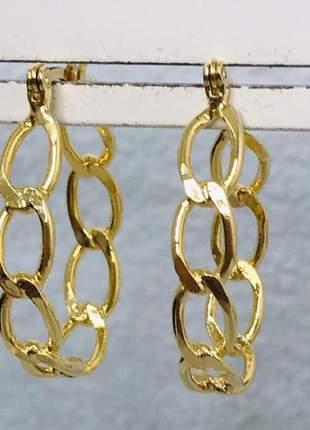 Argola elos moderna dourada