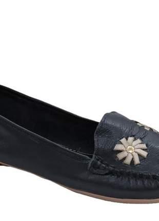 Sapato mocassim feminino preto confortável almeria 101913