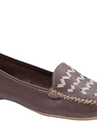 Sapato mocassim almeria marrom retro confortável 101919