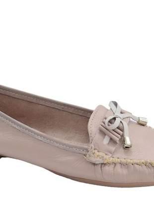 Sapato mocassim slip feminino almeria laço nude off 101915