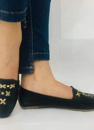 Mocassim feminino sapato preto almeria confortável 101911