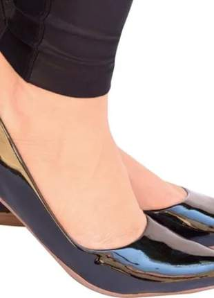 Kit 2 pares preto e marrom sapatilha feminina verniz bico fino confort rf.222