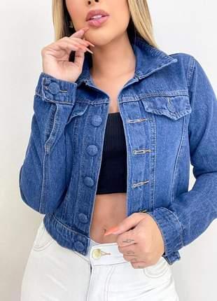 Jaqueta jeans feminina botão encapado lançamento