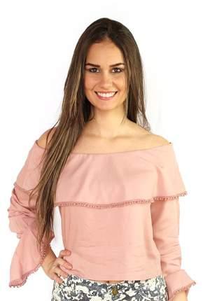 Blusa ciganinha feminina rose
