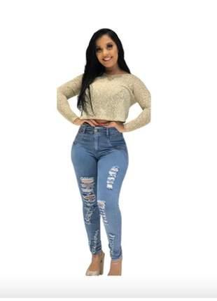 Calça jeans feminina rasgada skinny cós alto lycra 7129