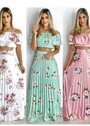 Conjunto moda evangélica feminino saia longa e cropped verão