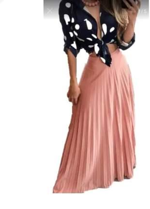Saia longa plissada moda evangélica muito linda
