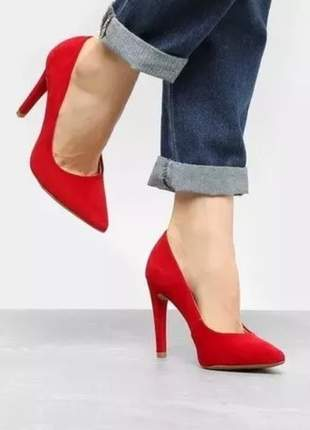 Scarpin feminino nobuck elegante social vermelho 3128332n