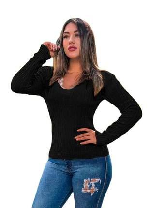 Blusa cardigan tricot trançadinho feminina ref:983(preto)