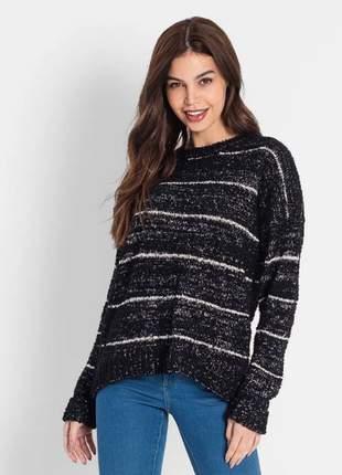 Sueter feminino em trico preto e13656539