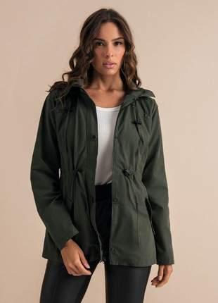 Jaqueta com capuz de sarja feminina verde e136526024
