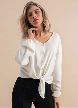 Camisa manga longa off white feminina e13602022