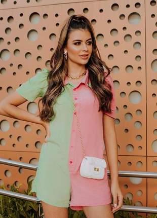 Macaquinho feminino color viscose moda carioca com botões