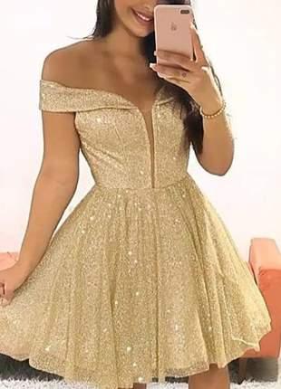 Vestido de festa curto luxuoso