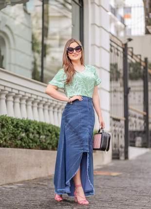 Saia jeans longa destroyed clara moda evangélica feminina