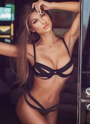 Conjunto langerie erótico elastano sensual