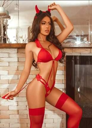 Lingerie sexy body diabinha fantasia sensual diaba + tiara