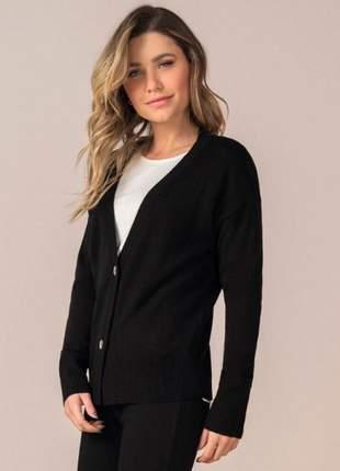 Cardigan feminino de tricô preto 9181735539