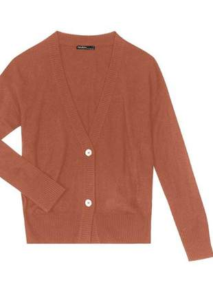 Cardigan feminino de tricô caramelo 91817351746