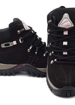 Coturno lançamento tênis bota feminino em couro adventure