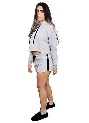 Conjunto de moletom cropped shorts liso feminino poliéster e algodão