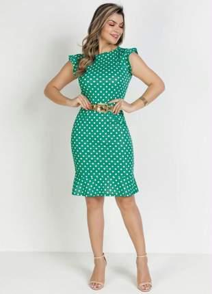 Vestido maisa poá verde com babado moda evangélica